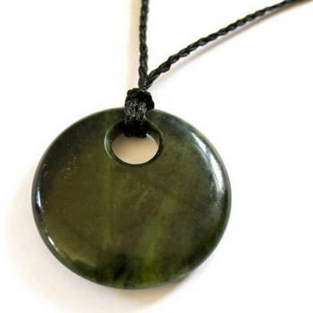 new zealand tangiwai greenstone disc pendant
