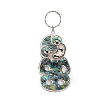 New Zealand Tiki Silver and Paua Key Ring