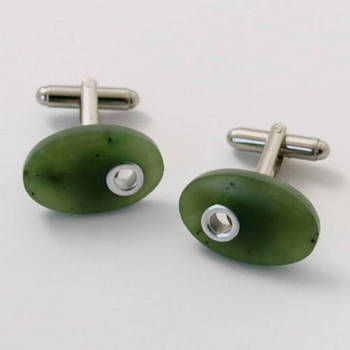 New Zealand Oval Greenstone Cuff Links with Silver Inlay