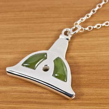 New Zealand Sterling Silver and Greenstone Shepard's Whistle Pendant