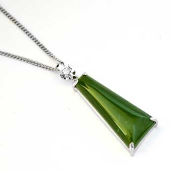 New Zealand New Zealand Greenstone & Sterling Silver Drop Pendant by Moreton Jewellery