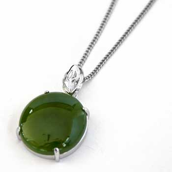New Zealand New Zealand Greenstone & Sterling Silver Round Set Pendant by Moreton Jewellery