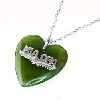 New Zealand Vintage Style Greenstone Kia Ora Heart Pendant by Moreton Jewellery