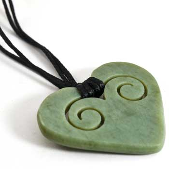 New Zealand New Zealand Greenstone Koru Heart Pendant