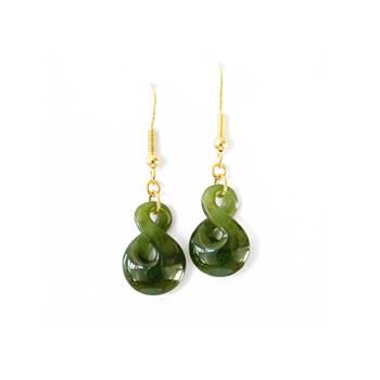 New Zealand Greenstone Single Twist Earrings