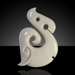 Hand Carved Stylised Fish Hook Koru Bone Pendant by Peter Mitchell