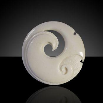 Hand Carved Koru Bone Pendant With Inlaid Koru By Peter Mitchell Kiwitreasure Com