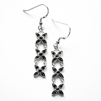 New Zealand Tania Tupu Tapa Black Onyx Earrings