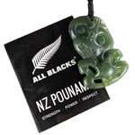 Back of All Blacks Greenstone Tiki Pendant