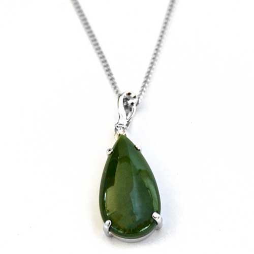 New zealand greenstone silver teardrop pendant by moreton new zealand greenstone sterling silver teardrop pendant front mozeypictures Gallery