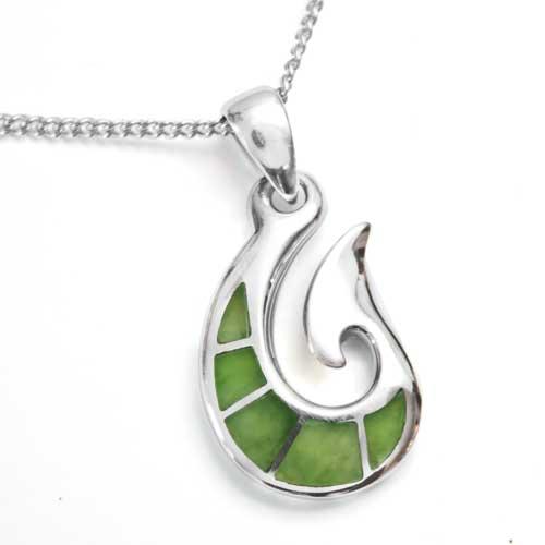 New zealand greenstone silver fish hook pendant by moreton jewellery aloadofball Choice Image