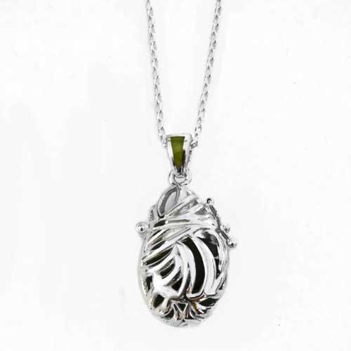 Sterling silver filigree fern vial pendant with new zealand front of silver filigree fern vial pendant with new zealand greenstone mozeypictures Choice Image
