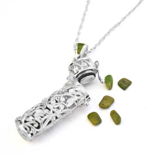 New Zealand Sterling Silver Filigree Vial Pendant with New Zealand Greenstone