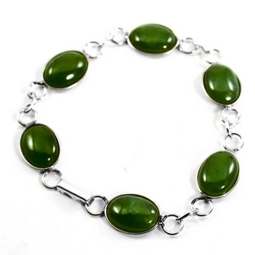 New Zealand Sterling Silver & Greenstone Bead Bracelet